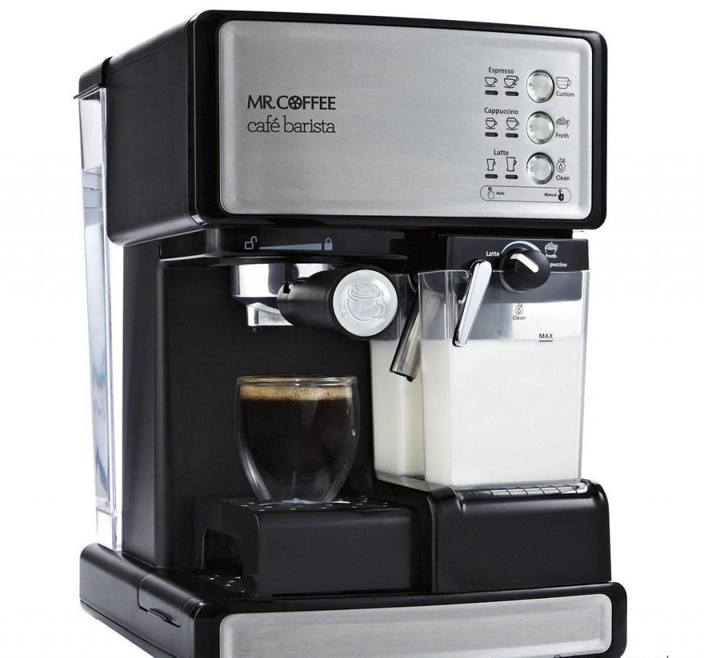 mr coffee cafe barista espresso maker with automatic milk frother