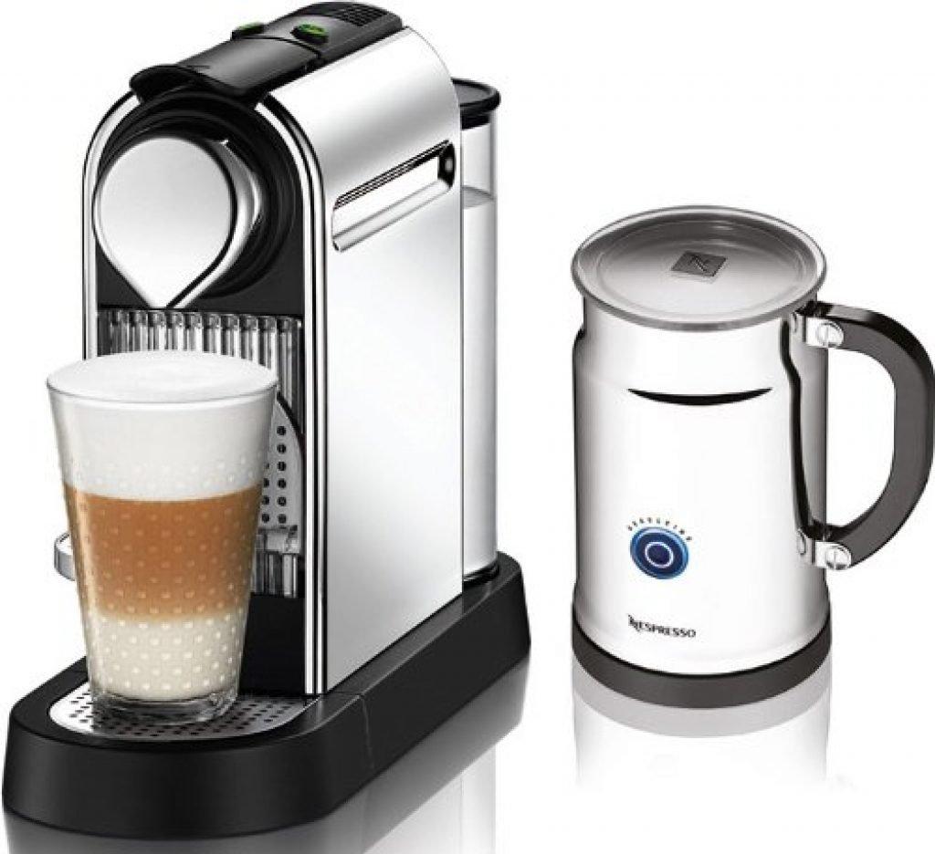 nespresso citizc111 espresso maker with milk in chrome